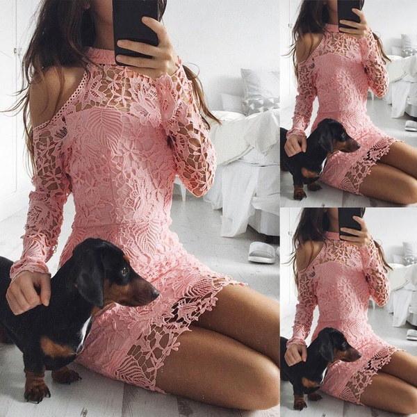Women Long Sleeve Lace Bodycon Dress Ladies Evening Party Mini Skater Dress 6-16