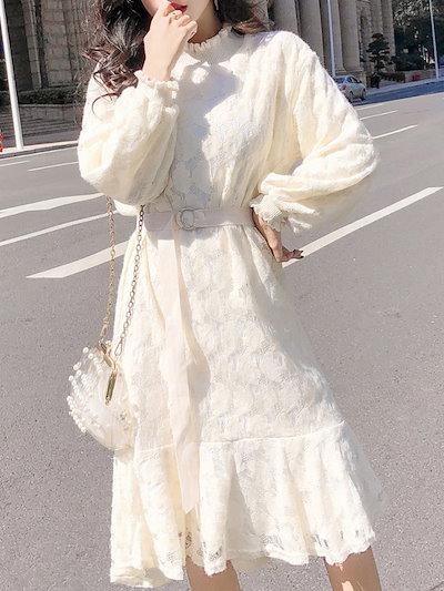 マーメイド裾 フェアリー 裏起毛 スタンドネック 長袖 パフスリーブ 透かし彫り レースワンピース