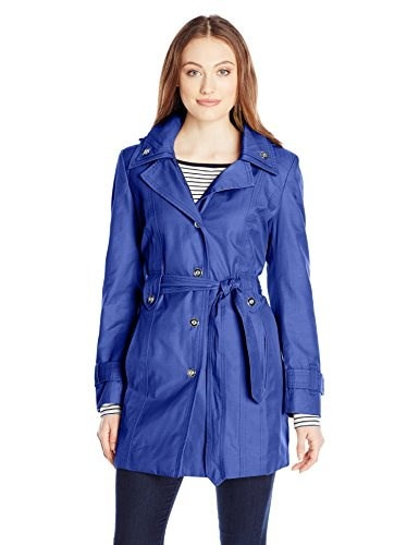 London Fog Womens Single Breasted Double Collar Trench Coat, Bluebell, Small