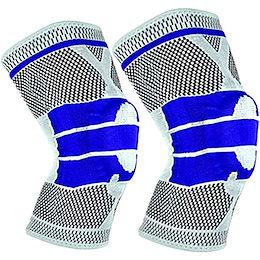 膝サポーター スポーツ全般 3D立体編み シリコン滑り止め 高齢者 怪我防止 ランニング テニス 登山 白L 2枚セット(白2枚, Large)