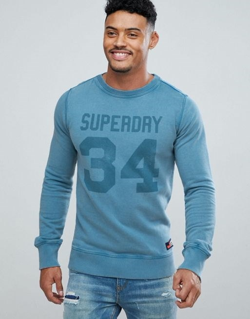 Superdry Heritage Wash Crew Neck Sweater In Blue