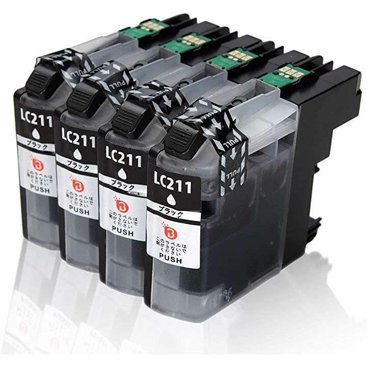 ブラザー インクカートリッジ LC211 BK 4PK ブラック 4本セット 黒 互換 Brother BK×4 大量 ICチップ残量表示検知機能付き 汎用 対応機種(ブラック/BK)