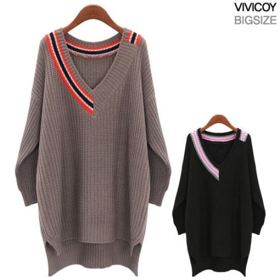 ビビ己斐ハーフ配色Vオンバル・ニットEP ニット/セーター/ニット/韓国ファッション