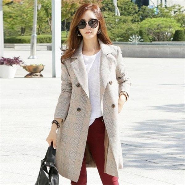 ナク21J01306テラチェックコートビッグサイズ 女性のコート/ 韓国ファッション/ジャケット/秋冬/レディース/ハーフ/ロング/