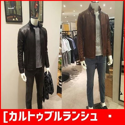 [カルトゥブルランシュ男性]人気商品の再入庫ライダー、羊革のジャンパーCMF7LU80BKBC /デニムジャケット/ジャケット/韓国ファッション