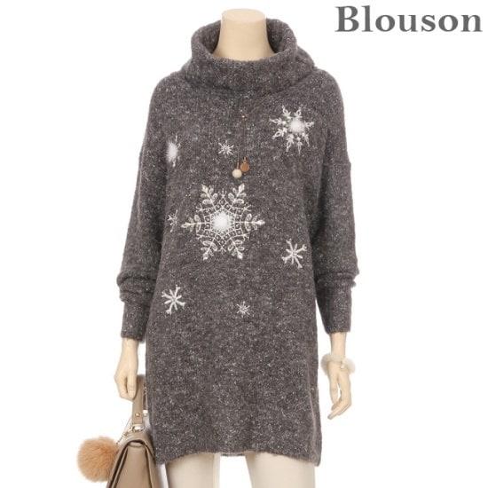 ブルルジョンブルルジョンアンゴラトドゥルの雪花装飾ウルニトゥB1712KN226D ニット/セーター/タートルネック/ポーラーニット/韓国ファッション
