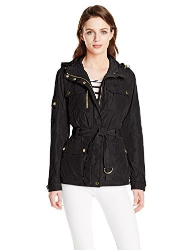 Trina Turk Womens Hamptons Anorak, Black, X-Small