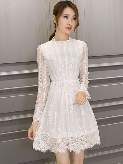White Flared Dress Semi-Sheer Lace A-Line Dress for Women
