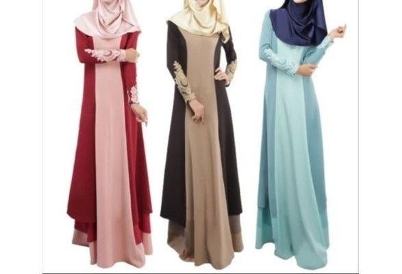 女性のレースイスラム教Abayaイスラム教徒のロングスリーブマキシドレス