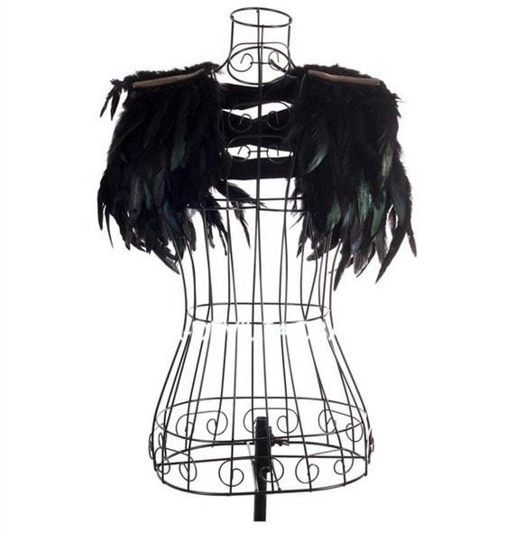 Visaulゴシックパンクロックスタイルクールフェザーファッションショー服ショールベスト
