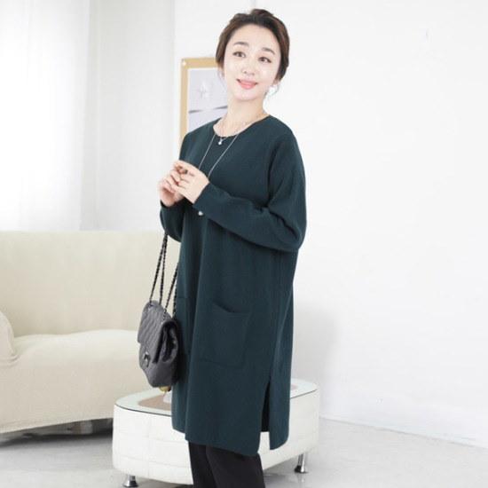 マダムセンスMT5576の半跏だワンピース式ニットティー 大きいサイズ/ニット/セーター/韓国ファッション