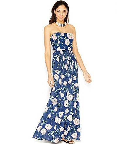 French Connection Womens Strapless Dress (8, Prince Blue/Party Pink/Techno Valle)