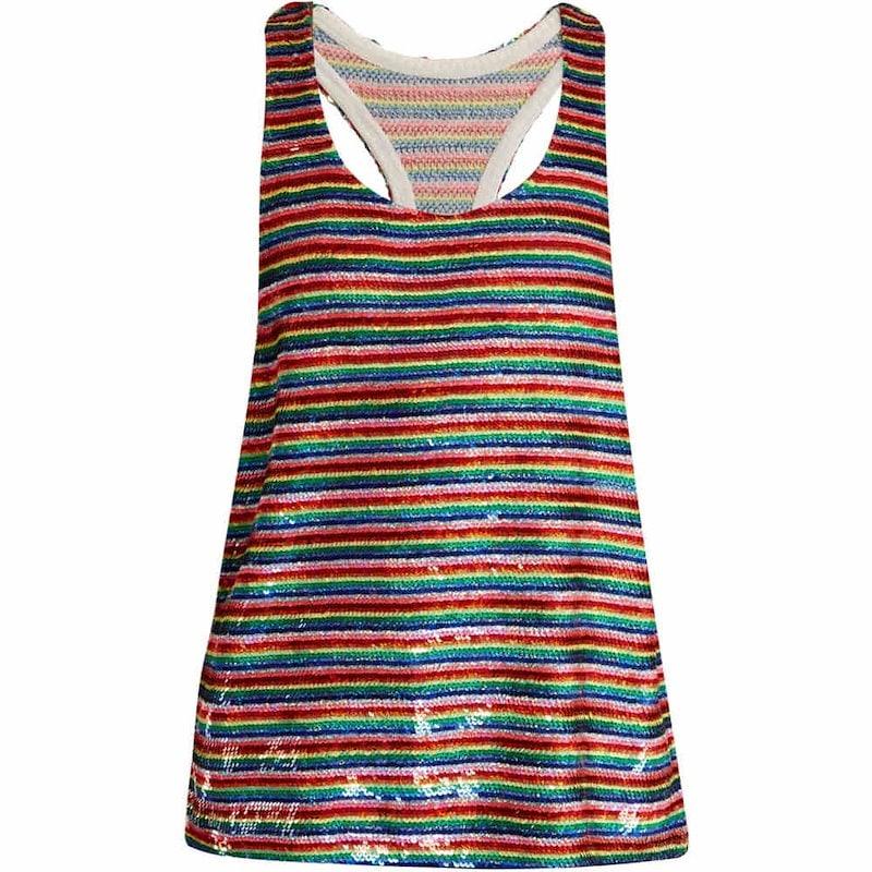 アシシュ レディース トップス【Rainbow-striped sequin-embellished silk top】Red