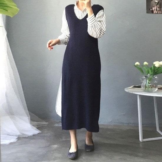 ・アバウト・スタイル行き来するようにオスオンバルトゥイム・ニットロングチョッキ ベセチュウ / ニット・ベスト/ 韓国ファッション