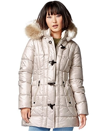 Laundry by Design Faux-Fur-Trim Toggle-Front Puffer Coat (Small, Bone)