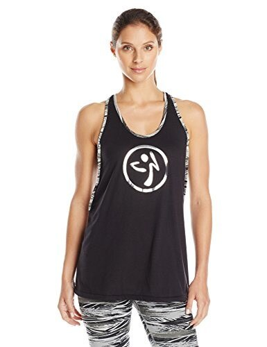Zumba Fitness Womens Treaded Burn It Up Bubble Tank Top, Sew Black, X-Large