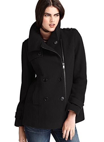 Marc New York Ladies Solid Black Asymmetric Zip Coat Size 8 Wool Blend