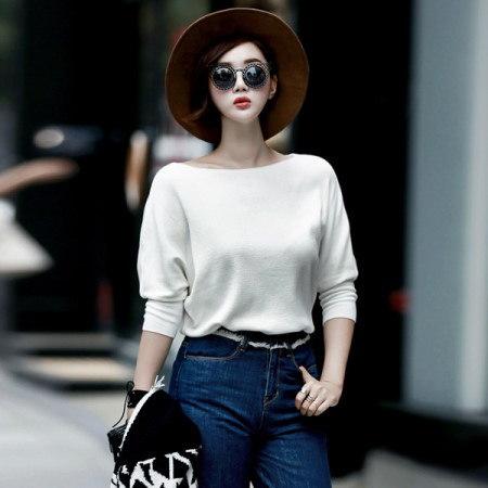 【ディントゥ] E1381リップネックラインナグランニットkorea fashion style