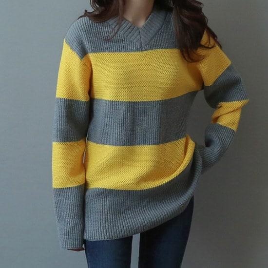 ビナインルベンル配色ニット ニット/セーター/ニット/韓国ファッション