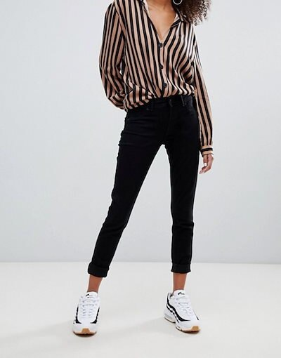 ベルシュカ レディース デニムパンツ ボトムス Bershka push up jeans in black