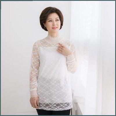 [マダム4060]ママの服の天の川レースティーシャツ-XTE902056- /トップ/ノースリーブTシャツ/ 韓国ファッション