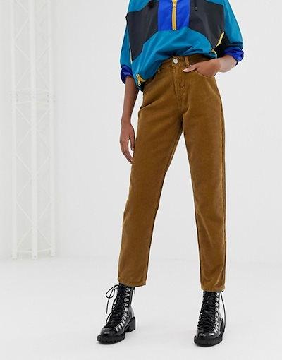 エイソス レディース デニムパンツ ボトムス ASOS DESIGN Ritson rigid mom jeans in tumeric cord