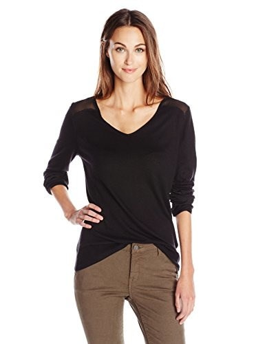 NYDJ Womens Woven Blocked V-Neck Sweater, Black, Large
