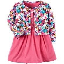 651d8ceeb068e カーターズ Carter s カーディガン 半袖ロンパース ワンピース 2点セット ベビー服 女の子 花柄×ピンク