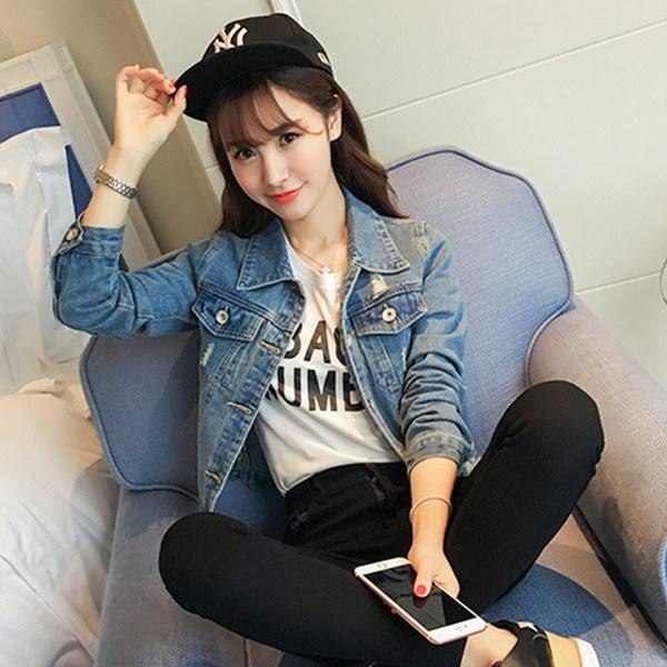 【送料無料】レディース デニムジャケット Gジャン ダメージ加工 カジュアル ファッション アウター