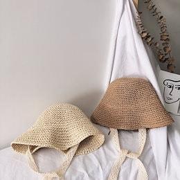 春、夏、秋の女の子の韓国の麦わら帽子