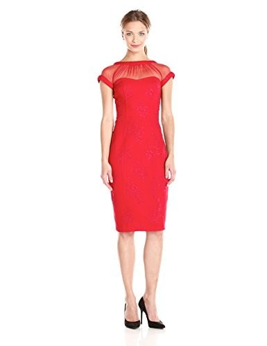 Maggy London Womens Embossed Rose Crepe Illusion Sheath Dress, Jungle Red, 10