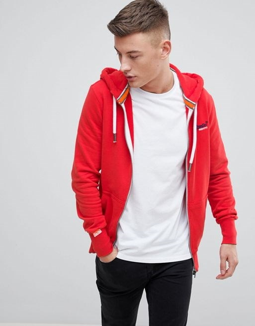 Superdry Orange Label Lite Ziphood In Red