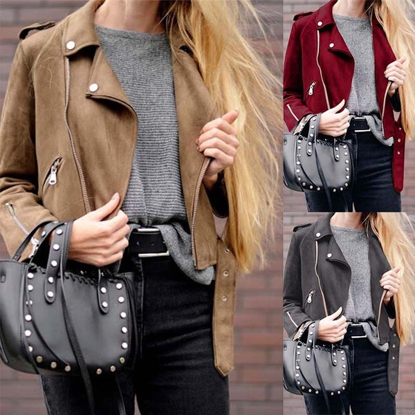 2017秋と冬の女性新しいファッションセクシーなスリムラペルジッパーポケットスエードレザージャケットコートカ