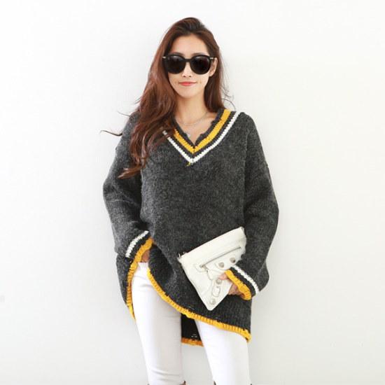 ピピンオラウンビンテージブイネク・ニット104626 ニット/セーター/ニット/韓国ファッション