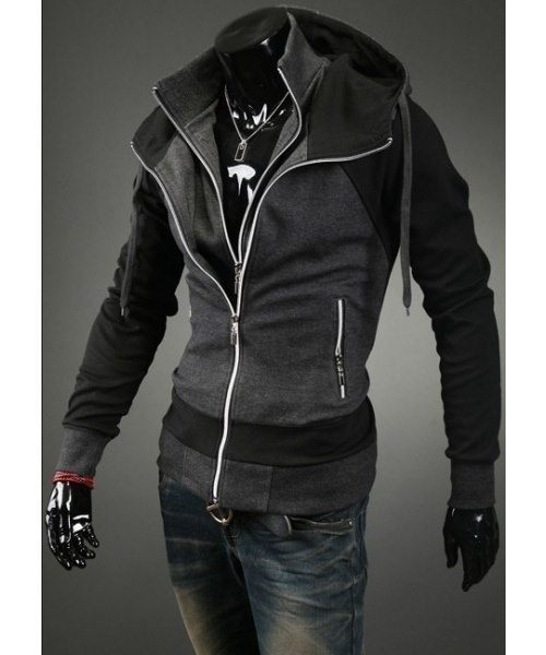 Dark Gray  Slim-Fitting Men s Hooded Jacket