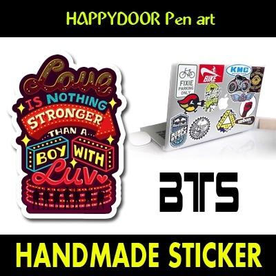 BTS BOY WITH LUV キャラクターイラスト WATERPROOF STICKER キャリアステッカー PEN ART 携帯キャリアステッカ-[happy door original]