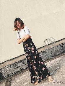 欧米2017春と夏に女装新型着やせ半身裙ハイウエスト黒ベース花プリントつりスカートロングスカート スイート 花柄 ヴィンテージ調 キャミワンピース かわいい-QQ1377