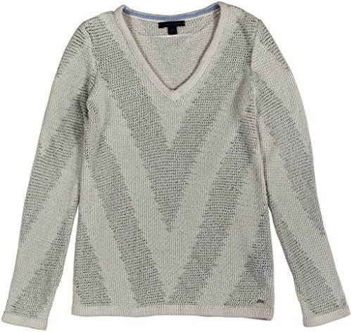 Tommy Hilfiger Womens Becky Chevron Stitch Sweater Medium Pastel Parchment