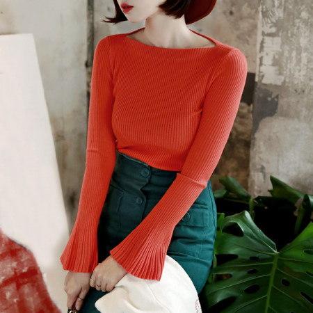 【ディントゥ] E1401ワイドカフ段ボールニットティーkorea fashion style