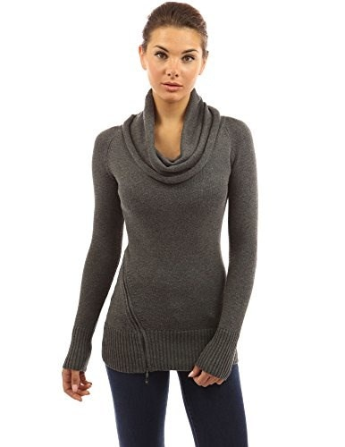 PattyBoutik Womens Cowl Neck Raglan Long Sleeve Zip Sweater (Dark Gray S)