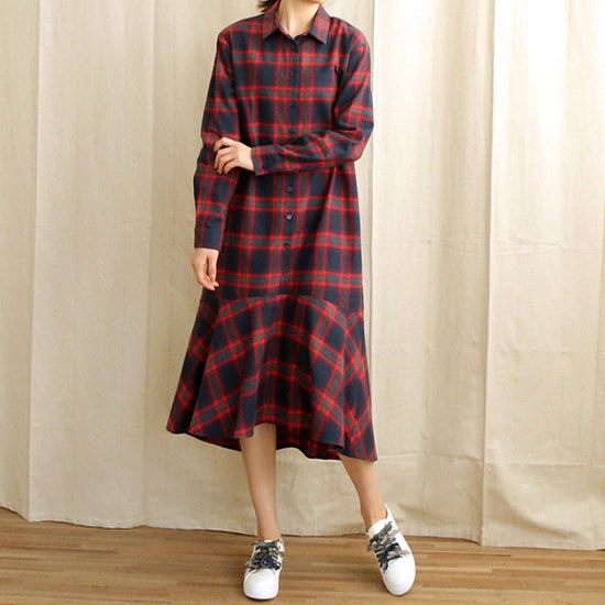 ビナインとしチェクフルワンピース シフォン/レースのワンピース/ 韓国ファッション