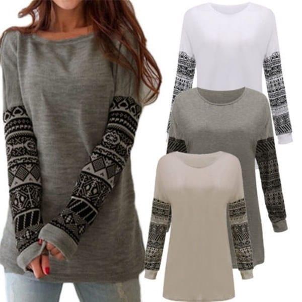 女性エスニックプリントロングスリーブソフトビッグサイズコットンシャツグレーオーバーサイズプルオーバースウェットシャツ