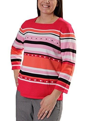 Play on Color Beaded Stripe Sweater in Multi By Alfred Dunner (XL)