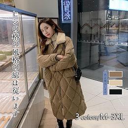 ヒシの格の綿は女性の冬の2020新作のロング丈の綿入れの上着の韓国スタイルの学生oversize綿入れの服のアウターに従います