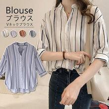 着やせ見えも確実イントストライプ柄シャツを着こなして爽やかなブラウス 韓国ファッション