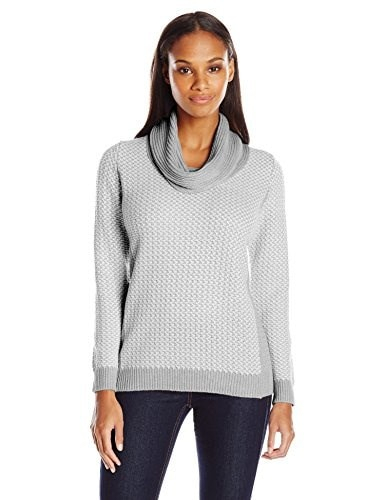 Calvin Klein Womens Basket Weave Sweater, Heather Granite Combo/Heather Grey, X-Small