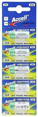 Accell アルカリ乾電池 12V-23A (A23 23AE LRV8-1BP MN221 V23GA 181A 3LR50 互換) 23A 水銀0% オーディオファン (1シート(5個))