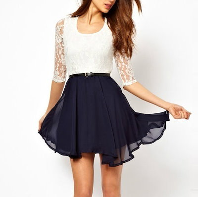 Short Sleeves Lace Chiffon Dress for Ladies