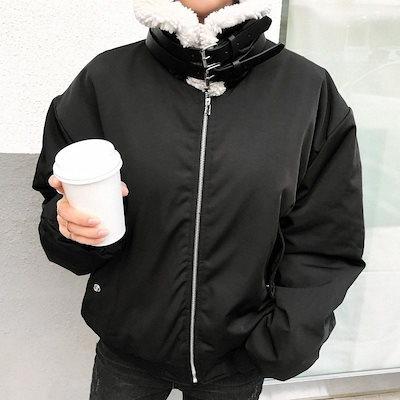 [ナンニン9]【】レディース ジャケット 裏ボア ハイネック 大きいサイズ 冬 レディース ファージャケット ネックベルト ミリタリー ミディアム丈