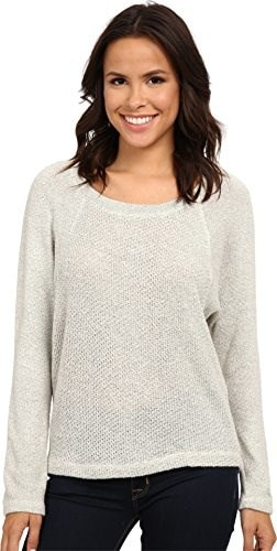 Splendid Womens Whistler Loose Knit Pullover Heather White Sweater XL (Womens 14-16)